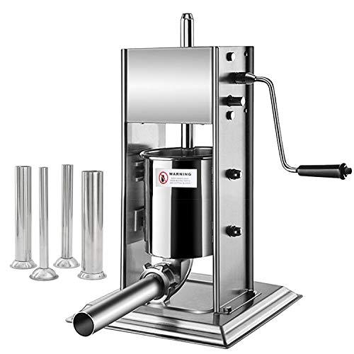 Hengda Hochwertigem Wurstfüllmaschine, 3 Liter Wurstfüller Edelstahl Wurtspresse mit 2 Gang-Getriebe und Vier Verschiedene Füllrohre