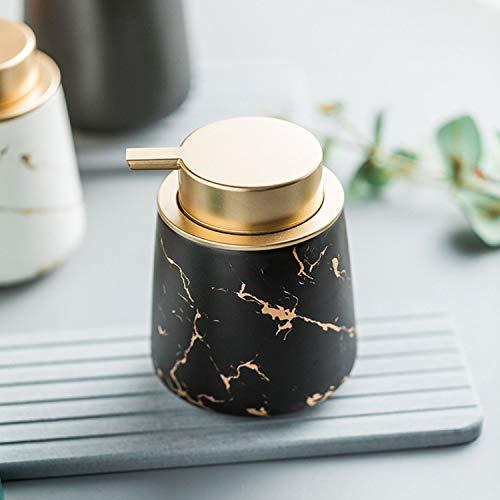 Luxury Gold Soap Dispenser for Kitchen Sink, Refillable Liquid Soap Dispenser with Marbling, Ceramics Hand Soap Dispenser for Bathroom, 13.5 OZ (Black)