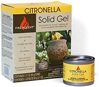 BestNest OutDoozie Fire Accent Citronella Solid Gels, Pack of 6