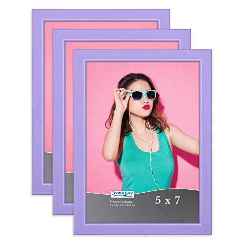 Icona Bay 5x7 Picture Frames (Purple, 3 Pack), Colored Solid Wood Scandinavian Style Frames for Photo, Pizzazz Collection