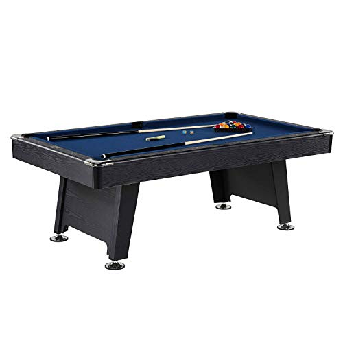 Thornton 7 Foot Billiard Game Room Table with Accessories - Includes Billiard Cues, Balls, Triangle, Chalk and Brush, Black Blue