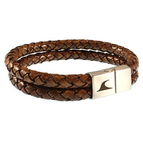 WAVEPIRATE® Echt Leder-Armband Tarifa F Cognac 21 cm Edelstahl-Verschluss in Geschenk-Box Surfer Männer Herren
