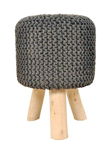 Sitzhocker Strick-Hocker Pouf Schemel mit Holzfüßen Ø 35 cm Höhe 45 cm Farbe steingrau