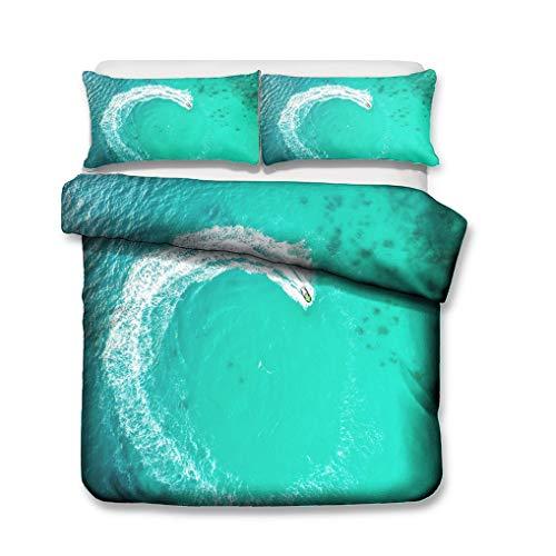 HNHDDZ Paisaje 3D Juego de Cama Playa Edificio Ola Casa Puente Tabla de Surf Funda de Edredón Verde Azul Cremallera (Estilo 2,150x200 cm - Cama 90 cm)