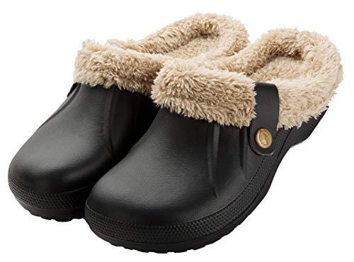 CELANDA Unisex Zuecos Calido Hombre Impermeable Zapatillas de Estar por Casa Mujer Invierno Pantuflas con Forro Pelusa Caliente Zapatos de jardín