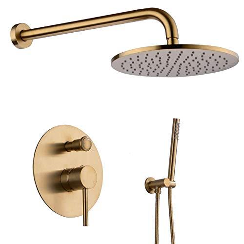 Yxxc Ducha de baño Redonda, Juego Combinado de Lujo n Mezclador de baño Redondo, Sistema de Cabezal de Ducha montado en la Pared, Juego de Ducha de Oro Cepillado, 10 Pulgadas