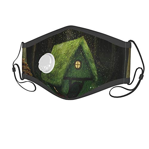 Fashion 3D Print Face Coverings Reuseable Washable,Surreal Little Forest House In Moss Enchanted Woodland With Elves Design Suitable for children aged 2-6,Breathable Dust Half Face Bandanas