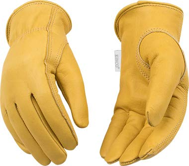 Kinco - Women's Unlined Cowhide Leather Work Gloves, Extremely Durable, Easy-On Cuff, Fitted Elastic Wrist, (Style No. 98)