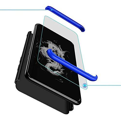 Kompatibel mit Oppo Realme X50 Pro Smartphone Hülle(2020)+3D Panzerglas/Hülle Ultra Dünn 3 in 1 Schutzhülle 360 Grad Stoßfest Hülle Cover Handyhülle für Oppo Realme X50 Pro-Schwarz+Blau