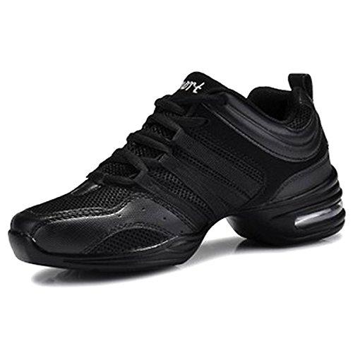 CHNHIRA Femme Chaussure de Danse Gros Talon Semelle Souple Chaussure de Maille Respirant Jazz Sneakers (EU39 Noir)