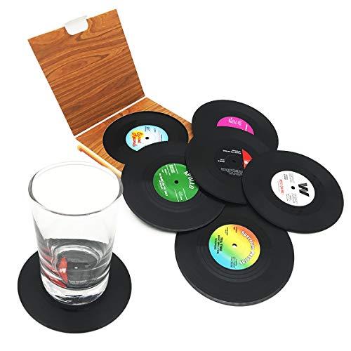 6 Stück Retro CD-Schallplatten-Untersetzer für Kaffee, Getränke, Geschirr, rutschfeste Untersetzer