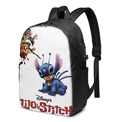 Fashion Leisure Backpack For Girls And Boys, Large Laptop Backpack, Waterproof Business Carry On Backpack For Men And Women, Water Bottle Pockets Daypack,Lilo Stitch Disney