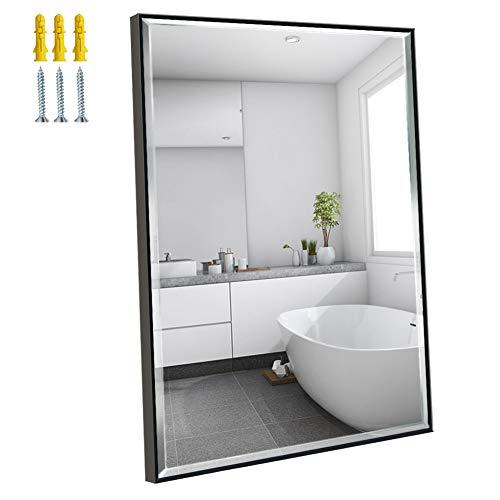 Amazon Brand - Eono Espejo de Pared de 76x56 cm, Espejo Rectangular Grande con Marco Negro, Apto para Baño, Salon y Recibidor, Inastillable