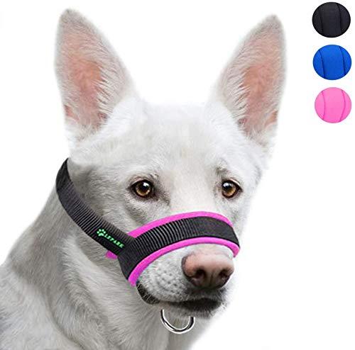 ILEPARK Maulkorb aus Stoff um Hunde vom Beisen, Bellen und Kauen abzuhalten, anpassbare Hals,Atmungsaktiv(L,Rosa)