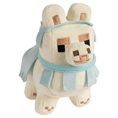 Minecraft Happy Explorer Llama Plush-White/Baby Blue Peluche, Multicol