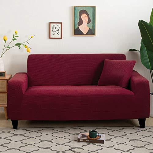 ASCV Funda de sofá de Gamuza Gris para Sala de Estar combinación de Madera Maciza Funda de sofá elástica sofá Toalla Funda de sillón decoración del hogar A6 4 plazas