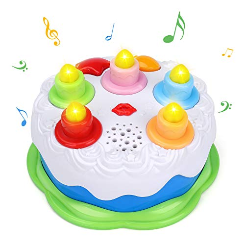 Okreview Baby Birthday Cake Toy with Counting Candles & Music for 1 2 3 4 5 Years Old Toddler Boys and Girls Gift Toy (Green)