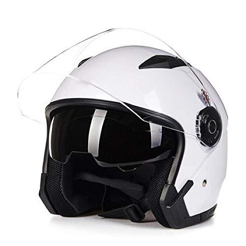 Herren- und Damen-Motorradhelme Herren-Elektrohelme, halbverdeckt Vier Jahreszeiten-Doppelgläser und Halbhelme UV-Schutzhelme-White_IT