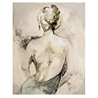 TUOJIEFAキャンバス絵画女性描画北欧アートプリントポスター壁画ブラックホワイトリビングルーム寝室家の装飾ポスター/50x70cm.20x27inchフレームなし