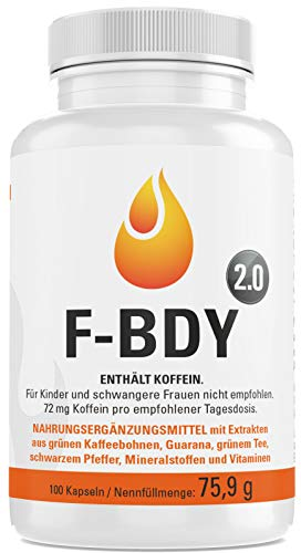Vihado F-BDY 2.0 - Stoffwechsel Komplex Kapseln, Für Frauen und Männer mit Grüner Kaffee Extrakt, Grüner Tee Extrakt, Guarana, Vitamine, 100 Kapseln