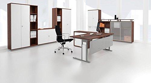 Gera Möbel PC-Schreibtisch rechts starr mit C Fuß   Tischplatte in Buche und Füße in Silber   180 x 72 x 100 cm