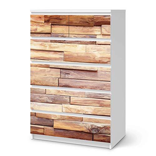 creatisto Wandtattoo Möbel passend für IKEA Malm Kommode 6 Schubladen (hoch) I Möbeldeko - Möbel-Sticker Aufkleber Folie I Innendekoration für Schlafzimmer und Wohnzimmer - Design: Artwood