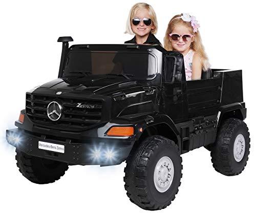 Kinder Elektroauto Mercedes Benz Zetros - Lizenziert - 240 Watt - Ledersitze - 2 Sitzplätze - MP3 - USB - Soft Start - Elektro Auto für Kinder ab 3 Jahre - Kinderauto Spielzeug