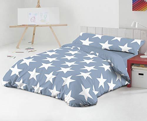 TEXTILONLINE - Funda Nordica 3 Pzas. Star (Cama 90 cms, Azul)
