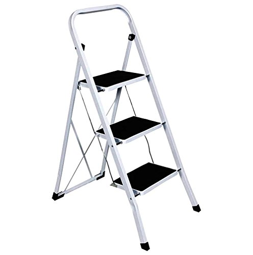 FOLDABLE 2, 3 & 4 STEP LADDER NON SLIP TREAD STEPLADDER SAFETY STEEL KITCHEN (4 TREAD) by TOOL-GENIUS LTD