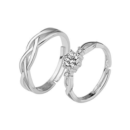 1 Paar Zirkon Paar Ringe Set 30% Sterling Silber Für Frauen Männer Liebhaber Hochzeitsversprechen Ringe Modeschmuck Nicht verblassen, Silber Candyboom