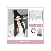 ナチュラル接続髪合成のBlack Hatカーリーヘアストレートヘアウィッグ弾性ニット帽子ウィッグ耐熱女性、2I304,22Inches