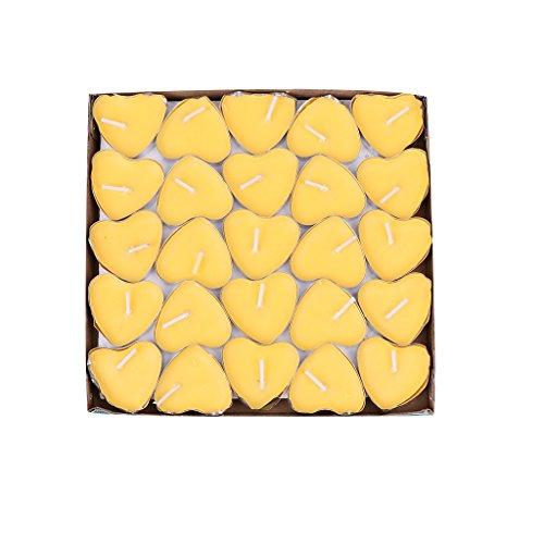 KINTRADE (una Scatola di 50 Candele a Forma di Cuore per Festa di Nozze, Decorazione della casa, Regali, Cera, Yellow, App.3.8cm/1.50in