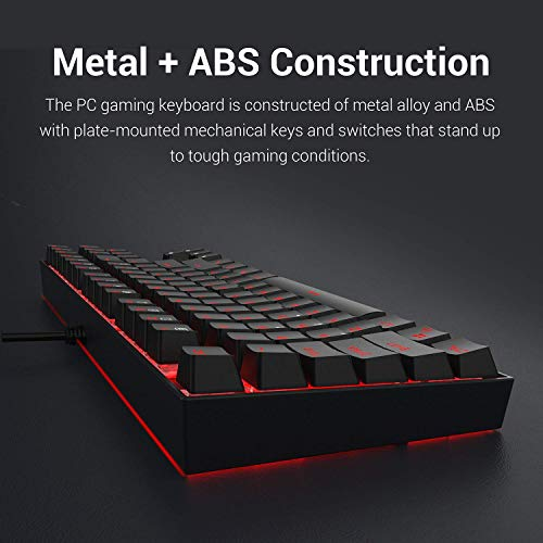 Redragon K552 Mechanical Gaming Keyboard 87 Keys 60% Small TKL Mechanical Computer Keyboard KUMARA USB Wired Cherry MX Blue Equivalent Switches for Windows PC Gamers (Black RED LED Backlit)