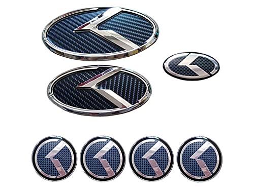 ZYOZY 7PCS KIA Emblem Decal Badge Front + Rear + Steering Wheels + Wheel Hub Emblem Compatible with KIA 2011-2020 Optima K5, KIA 2017+ Forte Sedan , K3 , Cerato (Carbon Fiber White)