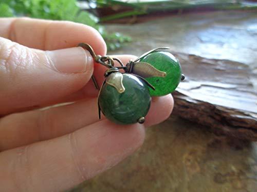 ꧁ AGATA GRANDE VERDE OSCURO EN BRONCE ꧂ PENDIENTES vintage, piedra semipreciosa en verde