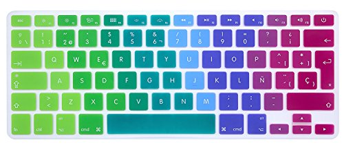 MMDW EU/UK Spanish Keyboard Cover for Macbook Pro 13 Inch,15 Inch (with or without Retina Display,2015 or Older Version) for Macbook Old Air 13 Inch European/ISO Keyboard Layout Silicone Skin-Rainbow