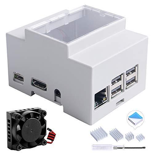 GeeekPi Gehäuse für Raspberry Pi 3B + / 3B auf DIN-Schiene Modulare Box für Schalttafeln, Raspberry Pi 3 Gehäuse mit Lüfter, Raspberry Pi Kühlkörper für Raspberry Pi 3B + / 3B