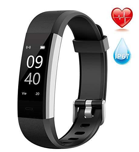 Aneken Pulsera de Actividad Pulsera Inteligente con Pulsómetro Pulsera Deportiva y Monitor de Ritmo Cardíaco Impermeable IP67 Reloj Fitness Podómetro, Monitor de Sueño, Notificación de SMS o Mensajes