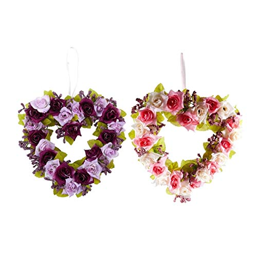 WODEJIA 2 Pcs Heart Shaped Artificial Flower Wreath Door Decoration Hanging Wreaths with Silk Ribbon for Wedding Decoration 22X21X3.5Cm Artificial Garland (Color : Blue)