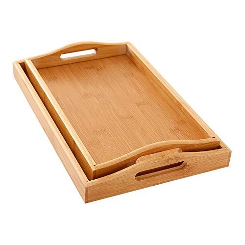 JIN GUI Bandejas de bambú y Madera, bandejas de té rectangulares, Juego de té de Kung Fu para el hogar de Madera Maciza Bandejas para Tazas de Agua, bandejas de Madera para Cena