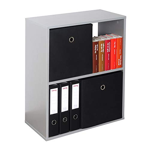 RICOO WM111-PL Estantería 71 x 60 x 31 cm Comoda pequeña Moderna Mueble Dormitorio Muebles de hogar Estante Zapatero Madera Color Gris