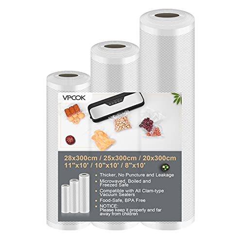 "Vacuum Sealer Bags for Food Saver Vacuum Sealer Bags Rolls 8"" x 10' 10"" x 10' 11"" x 10' 3 Pack Vacuum Seal Bags for Food Fit VPCOK Vacuum Food storage  - $9.79"