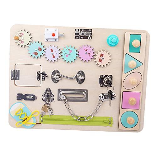 Perfeclan Tablero de Cerraduras y Pestillos de Madera Busyboard Montessori Juguete para Niños Bebés, Tablero Sensorial Juguete Educativo Temprano para Niños