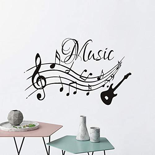 Notas musicales creativas hoja de personal de música guitarra vinilo pegatina de pared calcomanía artística dormitorio de niño sala de estar oficina club de estudio decoración del hogar Mura
