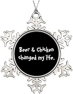 Metal Ornaments Bbq Chicken Personalised Christmas Tree Decoration Personalize Snowflake Ornaments