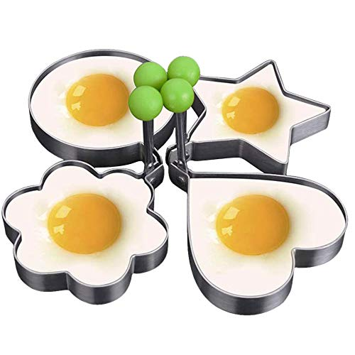 4pack Egg Rings Stainless Steel Pancake Mold Set Ring Molds for CookingEgg Cooker Eggs Maker Mold Make the Perfect Pancake Breakfast Sandwiches,A Flat Frying Pan is Required to Use This Product