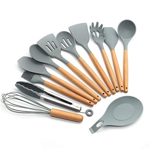 Vioaplem De Silicona Utensilios de Cocina Utensilios de Cocina Set - Los Mangos de Madera Natural Herramientas de Cocina for Utensilios de Cocina Antiadherente Paletas de Cocina