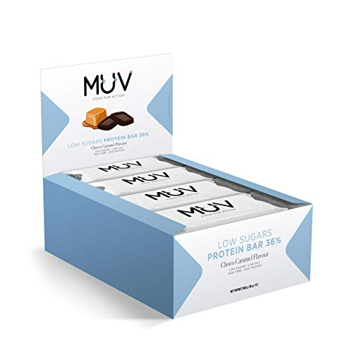 Muv Food For Action, barretta proteica a basso contenuto di zuccheri, gusto cioccolato e caramello, 12 x 30 g