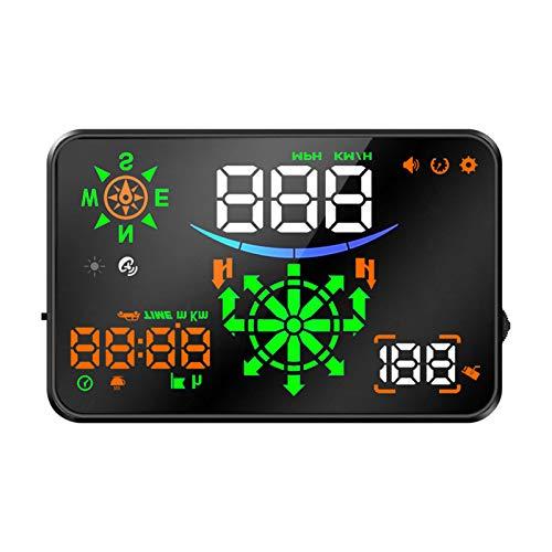KKmoon Head Up Display, Auto HUD Display OBD2 & HUD Display GPS 5,5 Zoll Navi Geschwindigkeitsmesser Auto, Tachometer, Wassertemperaturmesser Motordrehzahl Sicherheitsalarme