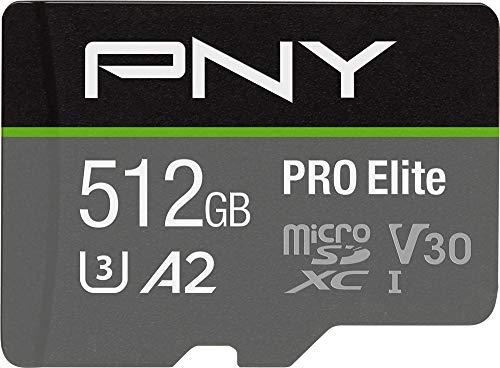 PNY PRO Elite 512GB microSDHC-Speicherkarte + SD-Adapter, 100MB/s Lesegeschwindigkeit, 90MB/s Schreibgeschwindigkeit, Klasse 10 UHS-I, U3, A2 App Performance, V30 für 4K-Video